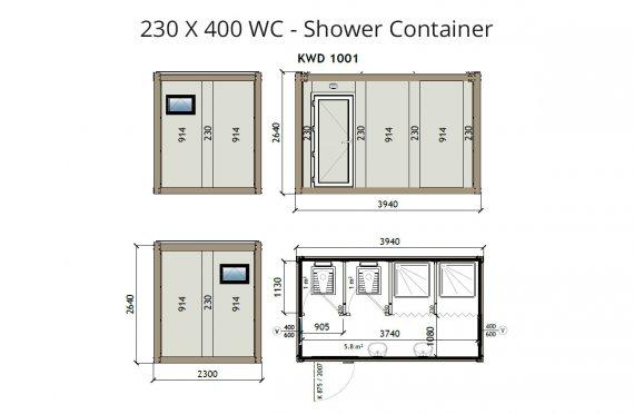 KW4 230X400 WC - מכולת מקלחת